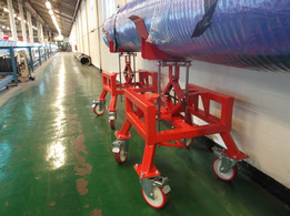 Height adjustable trolley with swivel head. 500kg capacity`