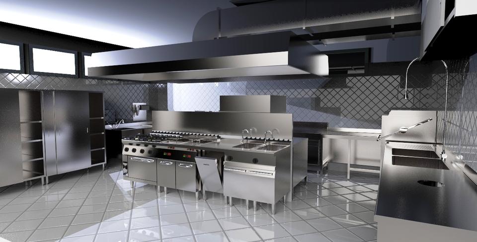 Cucina per ristorante 3d cad model library grabcad for Cucina in 3d