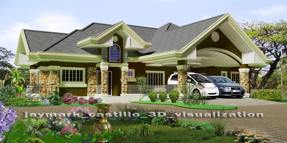 4 bedroom bungalow house autocad 3d cad model grabcad for Looking for 4 bedroom house