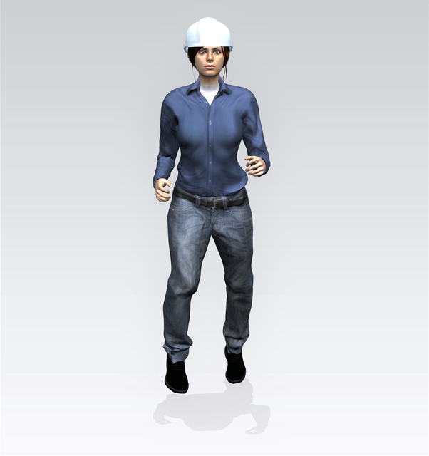 Female Worker operating | 3D CAD Model Library | GrabCAD