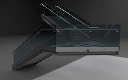 METAL STAIRS WITH GLASS BALUSTRADE