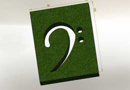 F clef, green and wood image
