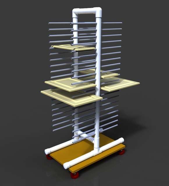Painting Rack For Cabinet Doors Etc 3d Cad Model Library Grabcad
