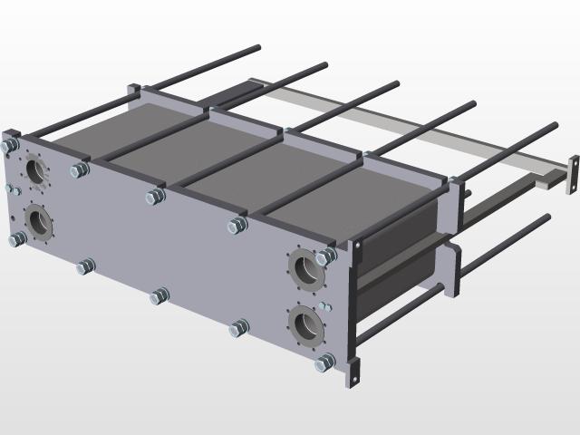 Plate Heat Exchanger | 3D CAD Model Library | GrabCAD