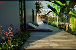 Landscape design for backyard garden.