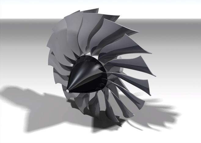 Turbofan curved blades