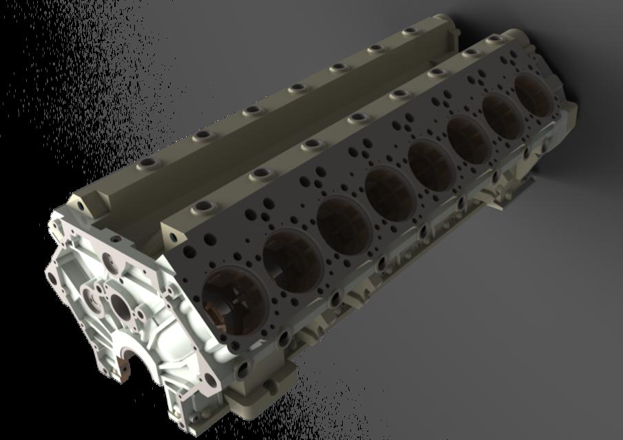 v16 engine engine v16   crank case   stl step iges   3d cad model