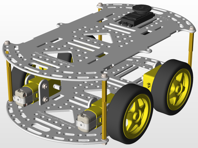 4wd Smart Car Chassis Robot Kit | 3D CAD Model Library