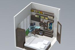Bookshelf & Bedroom Rendering