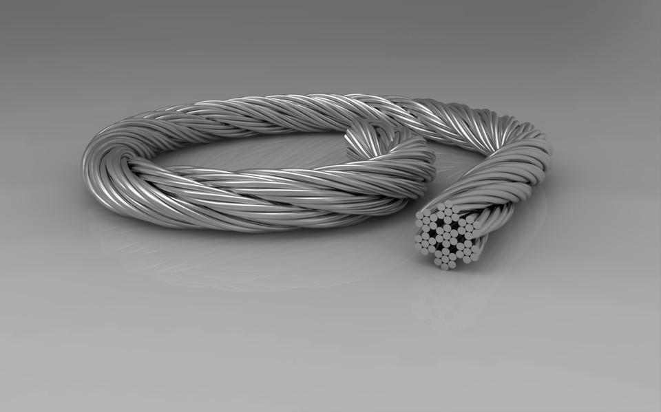 7x7 Stainless Steel Wire Rope 3d Cad Model Library Grabcad
