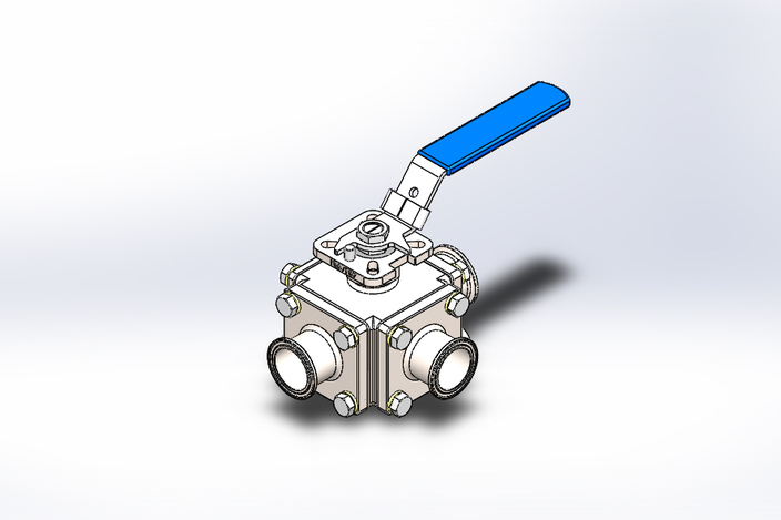 Multi way sanitary Ball Valve DN40