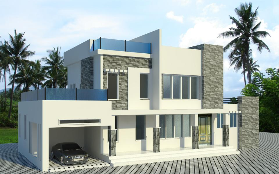 Front Elevation Design In Revit : D exterior view cad model library grabcad