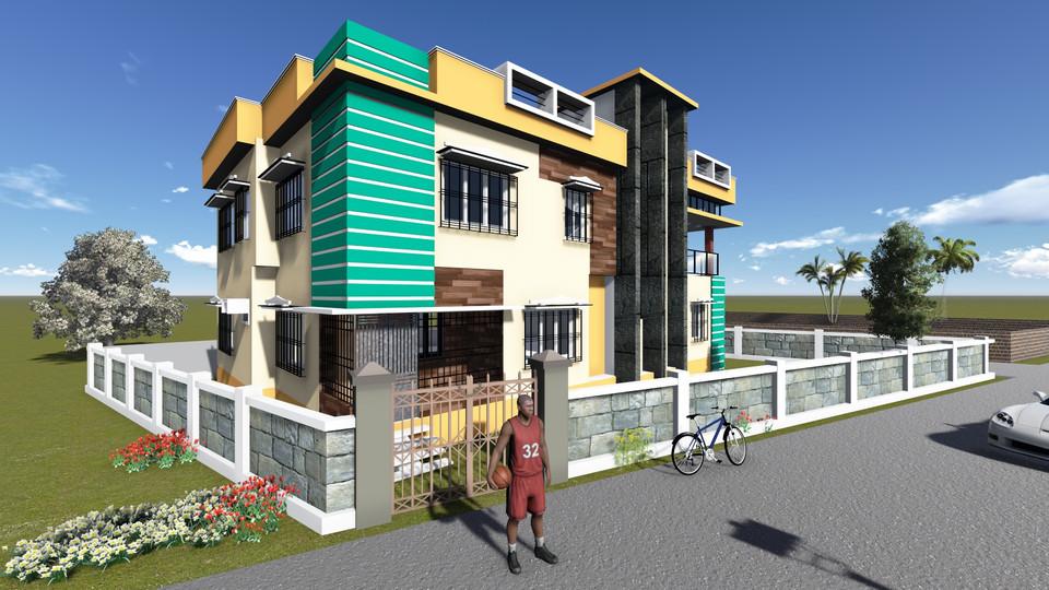 3d Building Elevation 3d Cad Model Library Grabcad