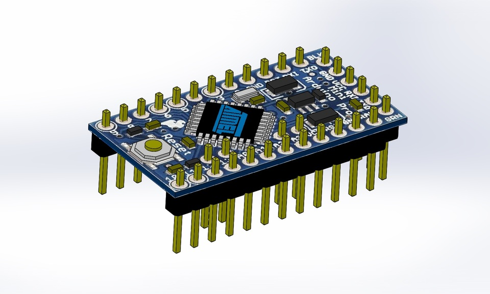 Arduino pro mini step iges solidworks d cad model