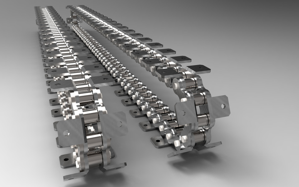 Short pitch conveyor chain 12B with K2 | 3D CAD Model