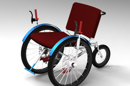 Three wheeled front wheel drive wheelchair