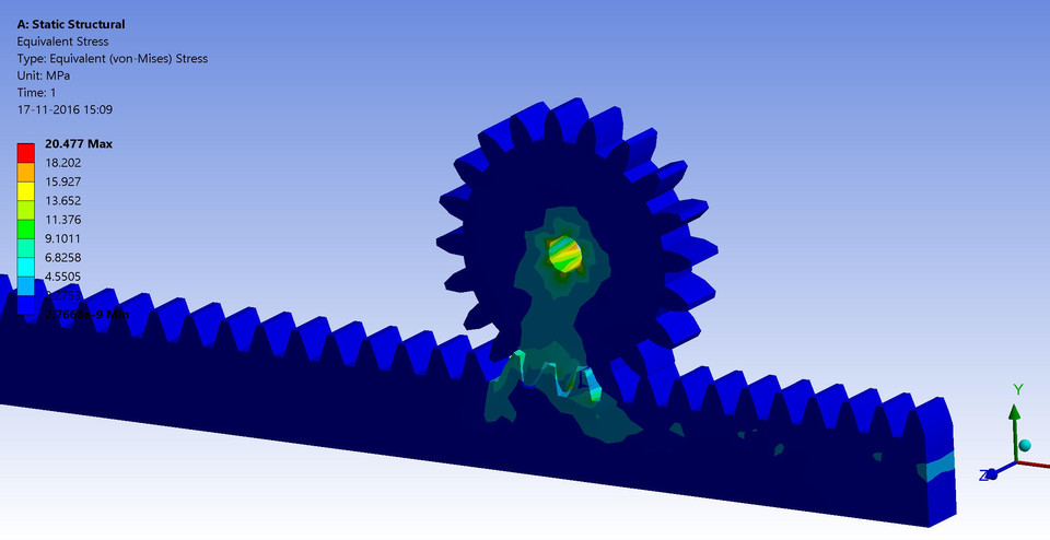 Rack and pinion gear stress analysis | 3D CAD Model Library