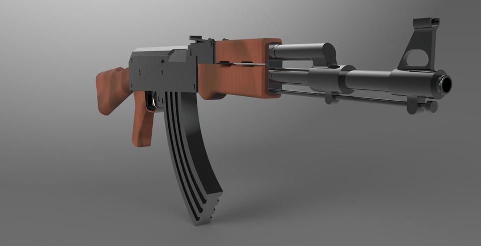 ak47 - Recent models   3D CAD Model Collection   GrabCAD
