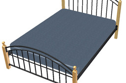 Bed, double, Wood and steel tubing construction.