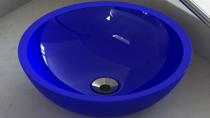 Cuba de apoio em resina de poliéster (Vessel type translucid lavatory sink)  -> Cuba Para Banheiro Em Resina De Poliester