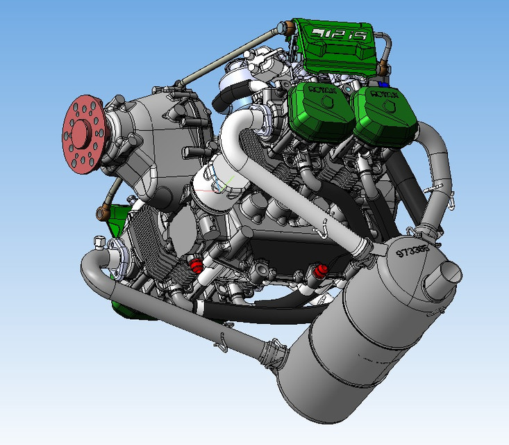 Engine Rotax 912iS | 3D CAD Model Library | GrabCAD