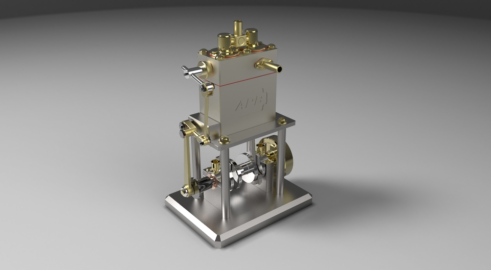 Rotary Valve Steam Engine Step Iges Solidworks 3d