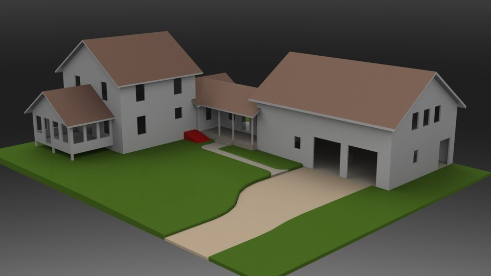 house and garage 3d cad model library grabcad