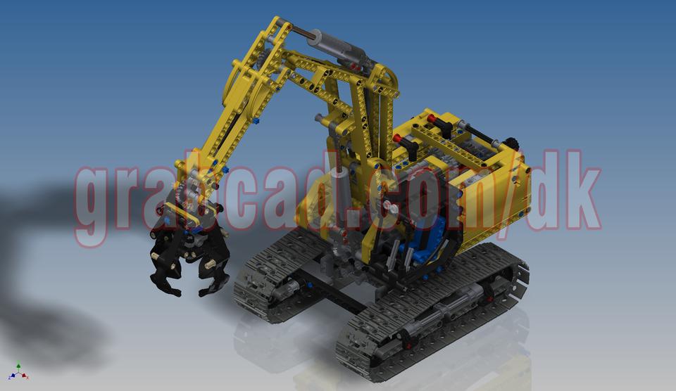 Lego Technic Excavator 42006 3d Cad Model Library Grabcad