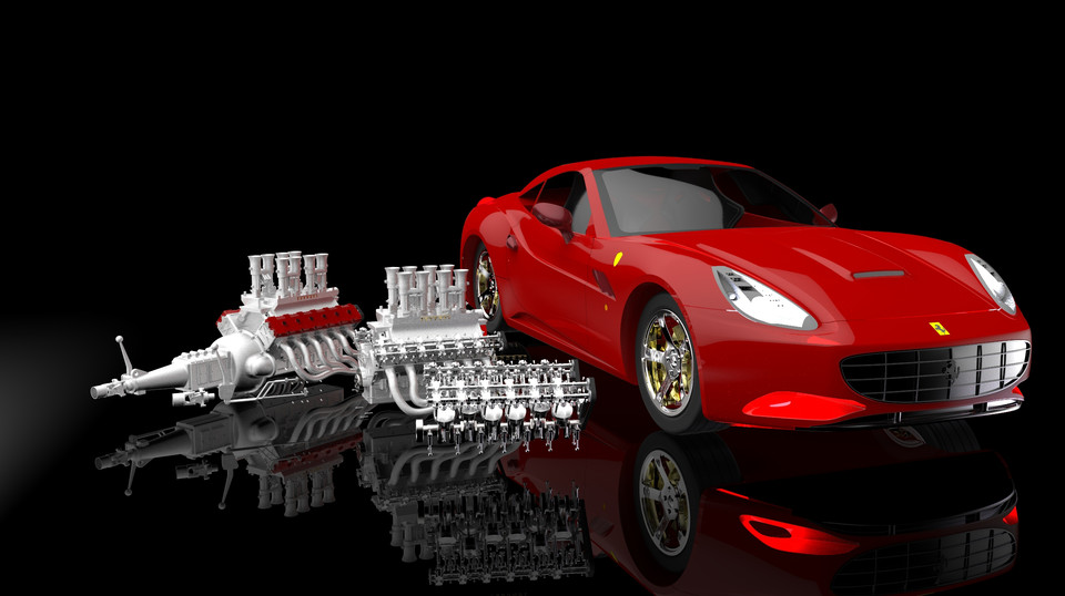 Ferrari V 12 Engine 3d Cad Model Library Grabcad