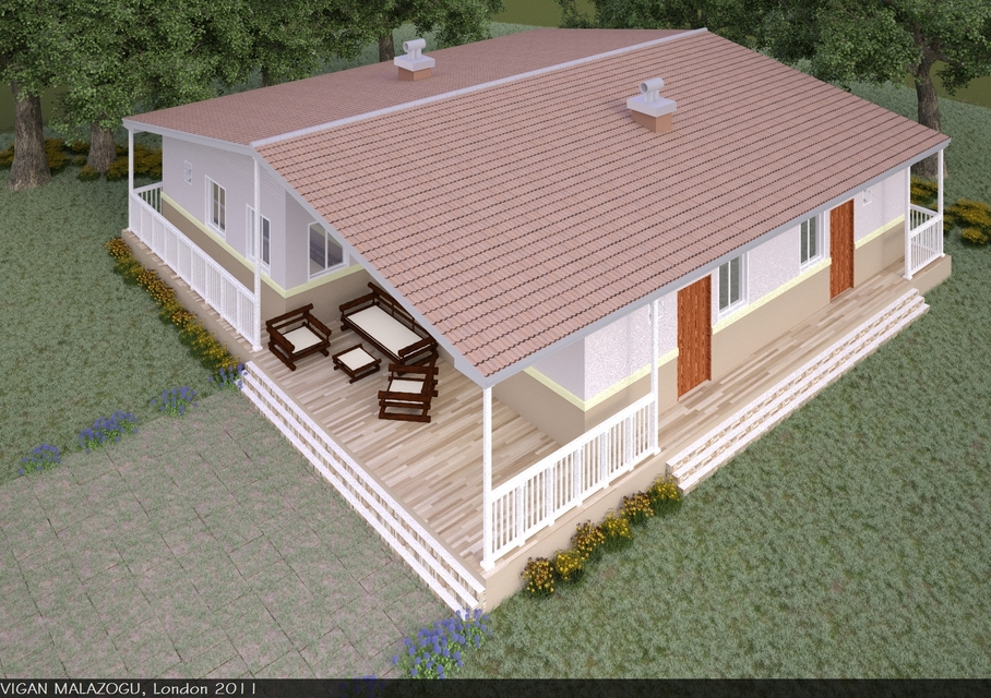 Bungalow House 3d Cad Model Library Grabcad