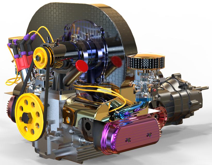 CLASSIC Volkswagen ENGINE | 3D CAD Model Library | GrabCADGrabCAD