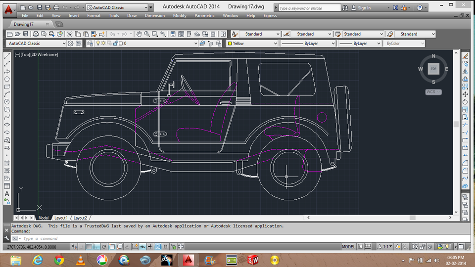 Car in 2d autocad 3d cad model grabcad for Garderobe 3d dwg
