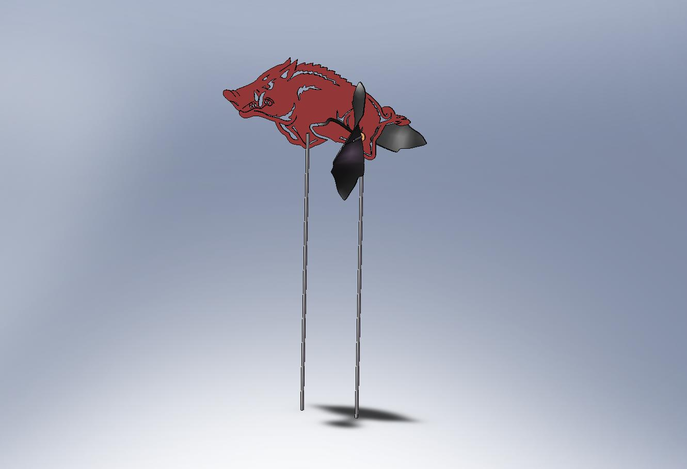 Run Hog Run - Arkansas Razorback Mascot Windmill