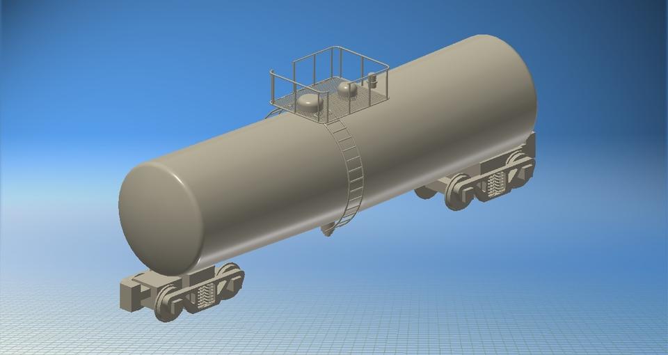 Train Rail Car Tanker Autodesk Inventor STL STEP
