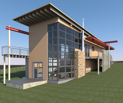 Revit sample house 3d cad model library grabcad for Autodesk online home design