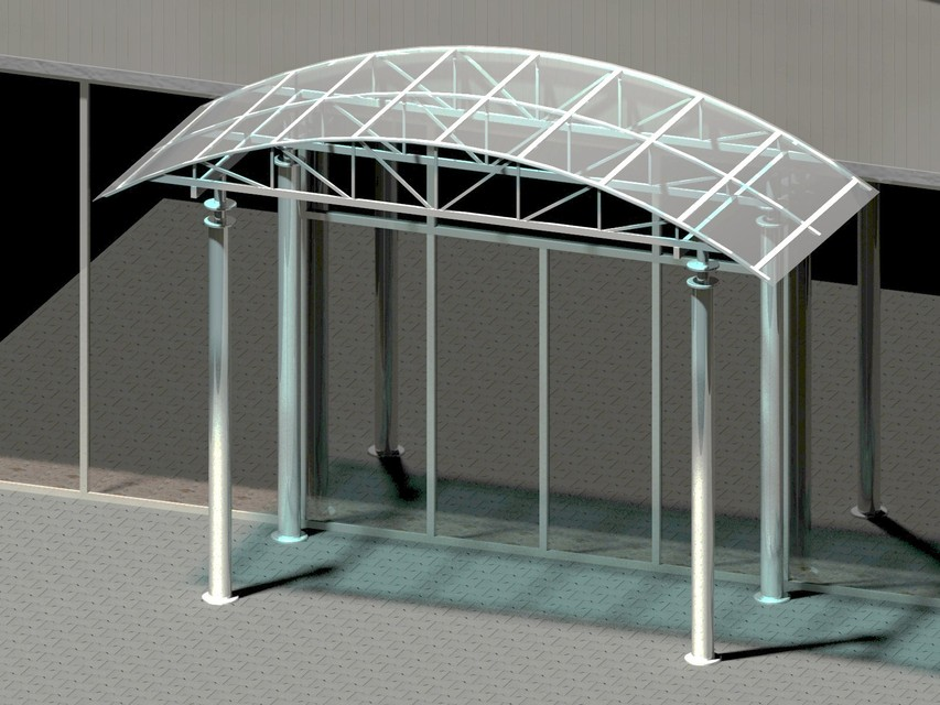 & Building entrance with arch canopy. - 3D CAD model - GrabCAD