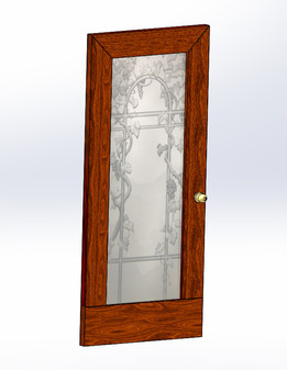 Teak Door- Faux Etched glass