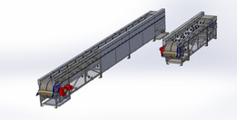 Small transport conveyor with extendable opportunities, for powders, meat, food