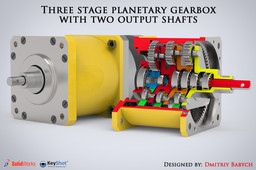 Three stage planetary gearbox with two output shafts & amination tutorial