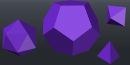 Dodecahedron, icosahedron, octahedron and tetrahedron