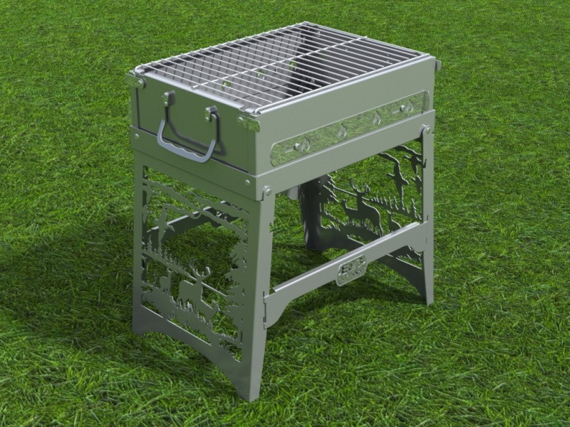 Foldable grill barbecue | 3D CAD Model Library | GrabCAD