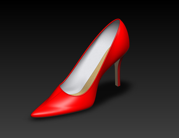 Woman's high heeled shoe - left