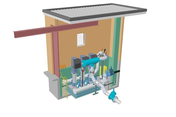 Small Irrigation Booster Pump Building Autocad 3d Cad