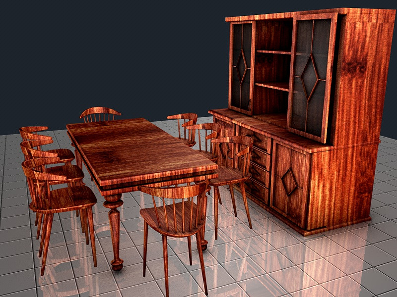 COUNTRY STYLE DINING ROOM SET 1   3D CAD Model Library   GrabCAD