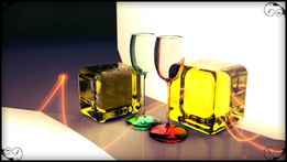 Wine Glass With Transparent Cubes.