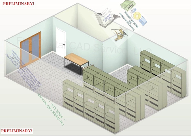 Storage Area with Desk Chair and Racks