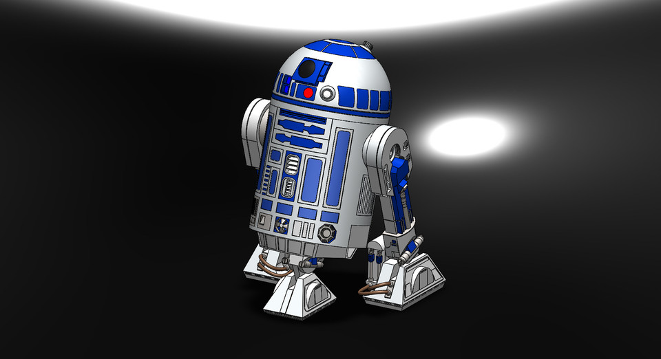r2d2 with individual part drawing and description 3d cad model