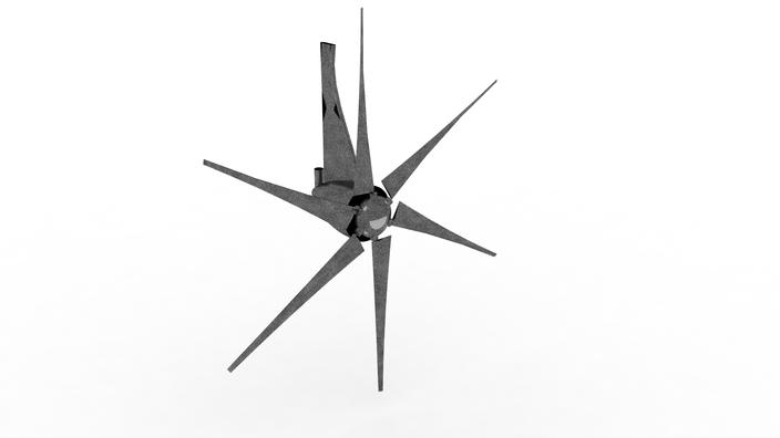 6 blade wind turbine - autodesk 3ds max  rhino  solidworks - 3d cad model