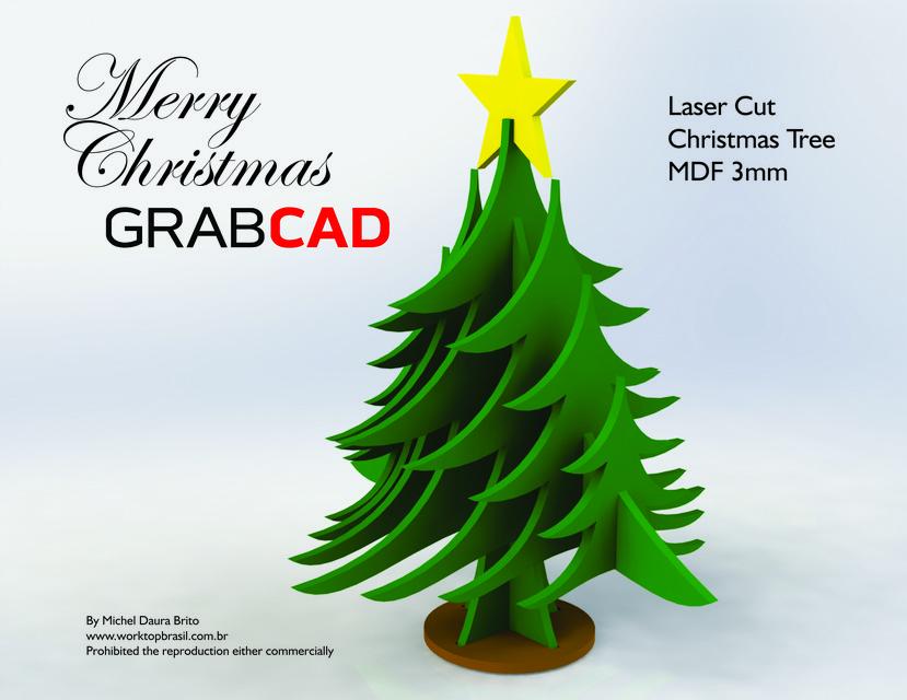 Mery Christmas GrabCAD Christmas Tree Laser Cut | 3D CAD Model ...