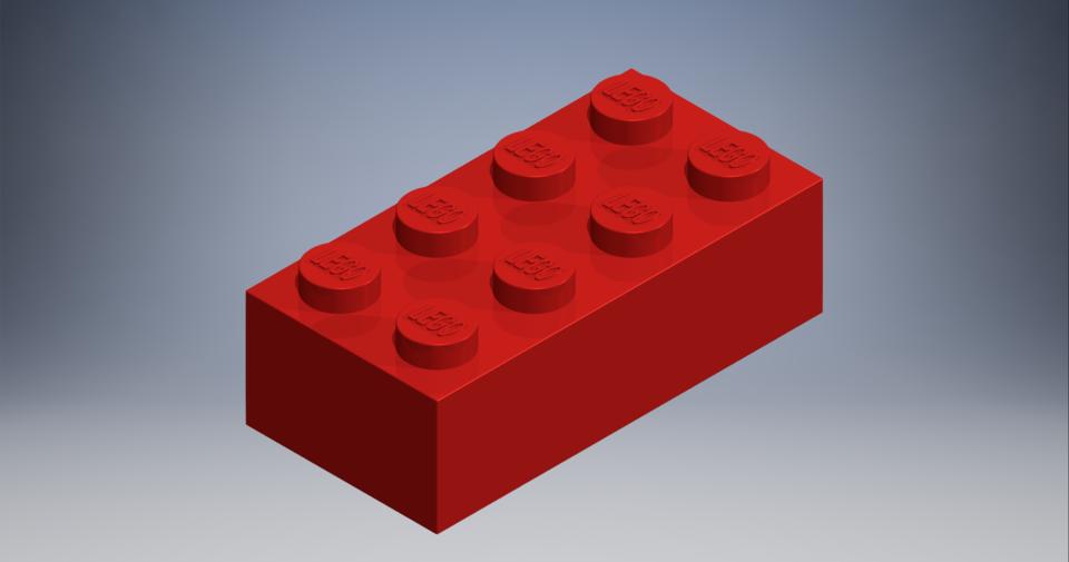 2x4 Lego Brick | 3D CAD Model Library | GrabCAD